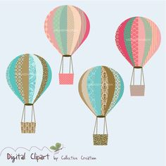 Hot Air Balloon Digital Clip art Set - Scrapbooking, Paper Crafts and Cardmaking. $3.60, via Etsy.