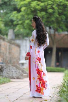 Floral Pattern, Custom Made Ao Dai, New AO DAI Vietnam, Chiffon & Satin #HienThao #Casual