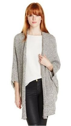 C&C California Womens Tweed Drape Cardigan Sweater