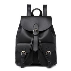 Online Shop 2018 New Women Leather Backpack Black Bolsas Mochila Feminina Large School backpacks for teenage girls Lady Travel Bag Black Leather Backpack, Black Leather Handbags, Pu Leather, Leather Bags, Leather Backpacks, Green Leather, Vintage Leather, Fashion Bags, Fashion Backpack