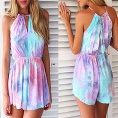 Fashion Color Painting Print Sleeveless Jumpsuit on Luulla