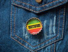 Rastafari Upcycled Bottle Cap Button by italart on Etsy, $9.00