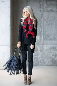 Black banana pants, red plaid scarf, black sweater and new booties black tank or v neck Red Plaid Scarf, Plaid And Leopard, Leopard Boots, Fall Winter Outfits, Autumn Winter Fashion, Fall Fashion, Holiday Outfits, Booties Outfit, Mode Plus