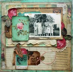 This One's for the Girls ~ Fresh and feminine heritage collage page with great layering of elements. There is a partially hidden tag on the left for secret journaling. Created with papers from the 'Motley' and 'Never Grow Up' collection (gotta find them!!).