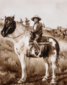 """""""Pitchfork Shorty"""" Painted from a photo of my grandma as a girl on her Pryor wild pony."""
