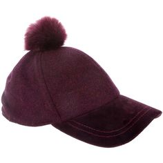 Pre-owned Paul Smith Faux Fur Pom-Pom Hat ($75) ❤ liked on Polyvore featuring accessories, hats, burgundy, pom pom baseball hats, fake fur hats, faux fur hats, satin lined baseball cap and burgundy hat