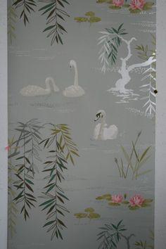 Osborne & Little -  Nina Campbell - Swan Lake Wallpaper - 10m roll