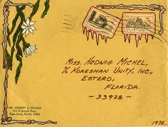 https://flic.kr/p/k5MsQH | Envelope decorated by Herbert A. Franke and addressed to Koreshan Unity President Hedwig Michel, Estero, Florida | Persistent URL: floridamemory.com/items/show/258090  Local call number: KOR2323  Title: Envelope decorated by Herbert A. Franke and addressed to Koreshan Unity President Hedwig Michel, Estero, Florida  Date: Postmarked February 16, 1972  Physical descrip: 1 envelope - col. - 9 x 12 in.  Series Title: Koreshan Unity Collection  Repository:  State…