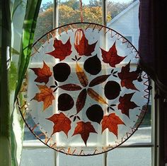 Placed between two sheets of contact paper, this fall art allows orange and red light to filter through the window. Cut contact paper into circles, sandwich the leaves between, and punch holes around the edge.