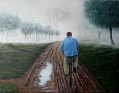 Quadro Pintura by Jorge Marcovich Depois da Chuva 50x65  Oil Painting After the rain Bicicleta - Bycicle