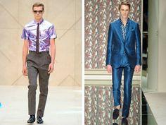 Modelos em desfile da Burberry e da Ermenegildo Zegna na Semana de Moda Masculina de Milão Verão 2013