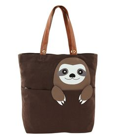 0a971b91e922 Look at this Brown Peeking Baby Sloth Tote on #zulily today! Three Toed  Sloth