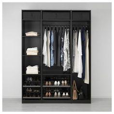 PAX Corner wardrobe - black-brown - IKEA Ikea Closet, Closet Bedroom, Closet Storage, Bedroom Storage, Bedroom Organization, Wardrobe Storage, Closet Space, Pax Corner Wardrobe, Pax Wardrobe