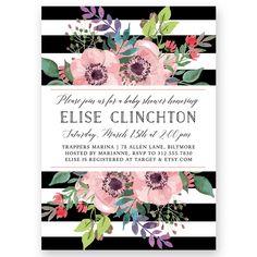 """Elise"" Garden Floral Baby Shower Invitation"