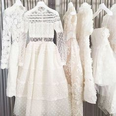Is there anything more tempting than a rack full of beautiful Christos Costarellos Spring 2017 bridal dresses? We'll take them all, please! 2017 Bridal, Bridal Gowns, Royal Dresses, Prom Dresses, Lace Wedding Dress, Wedding Dresses, Reception Dresses, Lace Dress, Vestidos Color Blanco