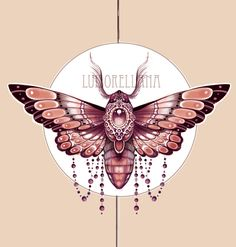 art nouveau tattoo moth design sketch jugendstil