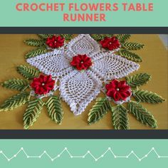 Free crochet flowers table runner patterns
