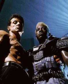 """Sylvester Stallone and Wesley Snipes in """"Demolition Man"""". Sylvester Stallone, Man Movies, Movie Tv, Apocalypse Costume, Last Action Hero, Stallone Rocky, Marvel Comics, Demolition Man, Wesley Snipes"""