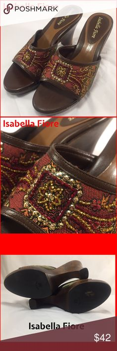 Isabella Fiore like new Embellished Wooden Heels Isabella Fiore like new Embellished Wooden Heels with Royal golden, Scarlet, and greenish tones with sequins. Ladies 8 1/2 B. Made in Italy. Measures 4 inches and sole is 1 inch tall at ball of foot. Gorgeous condition with extremely small amount of wear. Only wear visible whatsoever on heel caps. That is very light. Also on place where price tag was removed. Orig. $88.00. Isabella Fiore Shoes Mules & Clogs