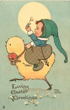 LOVING EASTER GREETINGS  girl rides large chick left