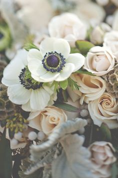 Anemone and rose bridal bouquet | Christina Block Photography | see more on: http://burnettsboards.com/2014/04/1930s-bridal-styled-shoot/