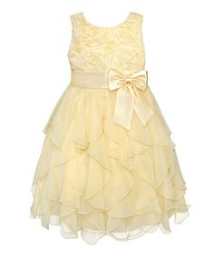 Loving this Yellow Rosette Ruffle Dress - Infant on #zulily! #zulilyfinds