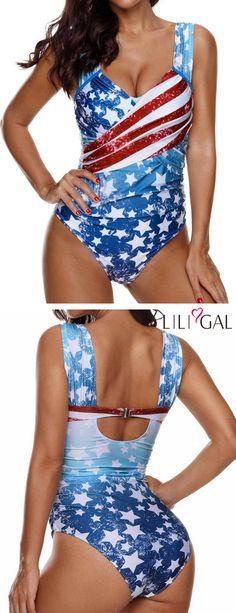 9e2f2c3217ba39 Wide Strap American Flag One Piece Swimwear #liligal #4thofjuly  #fourthofjuly #patriotic 4th
