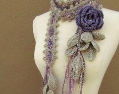 Queen Ann Rose Lariat-Lavender nr 2 by gsakowskidesigns on Etsy Freeform Crochet, Crochet Shawl, Hand Crochet, Crochet Lace, Crochet Flower Patterns, Crochet Flowers, Tricot Simple, Crochet Accessories, Crochet Scarves