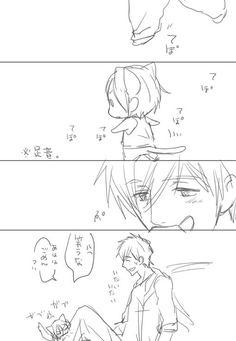 In the beginning Rin didn't like Makoto and bit him every time Rin became aware of Makoto ...  From nonta2323 ... Free! - Iwatobi Swim Club, free!, iwatobi, neko, cat, rin matsuoka, rin, matsuoka, makoto tachibana, makoto, tachibana