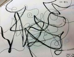 Practice 1-4 (3주차). 켄트지에 볼펜, 잉크펜 및 붓펜.  '아날로그', '선적인', '추상성', '느린', '즉흥적+패턴적'.  피아노와 첼로, 바이올린의 합주에 맞춰 현란하게 지휘하는 지휘자의 손놀림을 표현. 얇고 높으면서도 낮고 굵다.