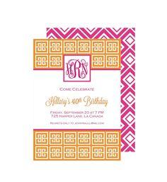 Pink and Orange Monogram Party Invitation : by BloomDesignsOnline