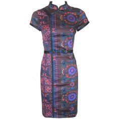 Skunkfunk Gondra Dress ($79) ❤ liked on Polyvore featuring dresses, skunkfunk, mixed print dress, aztec pattern dress, pattern dress and print dress