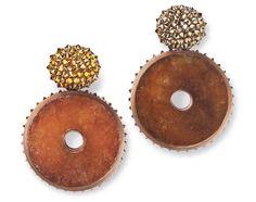 Hemmerle earrings, jade, diamonds,  copper, white gold