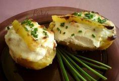 Töltött burgonya 6. - kolbászos   NOSALTY Potato Recipes, Vegetable Recipes, Bologna, Baked Potato, Mashed Potatoes, Dinner, Baking, Vegetables, Breakfast