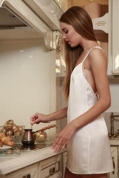 Купить Шелковая ночная сорочка D11 - белый, шелк, натуральный шелк, шелк…
