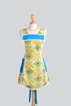 SALE Retro Full Kitchen Apron - Vintage Inspired Handmade Full Womens Apron in Teal and Yellow Geometric. $26.25, via Etsy.