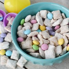 A fun spin on the puppy chow recipe, this Easter Bunny Chow with pastel colored M&M's and a touch of butterscotch is sure to be a big hit!