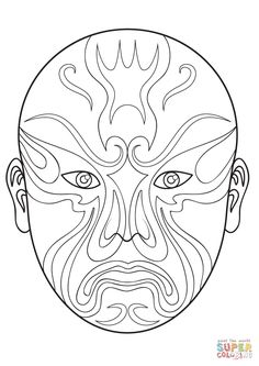Chinese Opera Mask 3 coloring page | Free Printable Coloring Pages