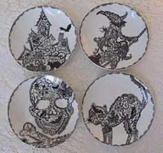 """222 Fifth Halloween Wiccan Lace Snack Party Appetizer Plates 6"""" Black & White Porcelain, Set of 4 Designs Cat, Haunted House, Skull, Witch"""