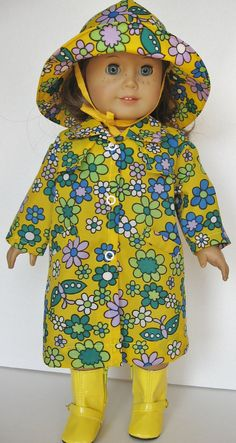 Flower Power Raincoat Hat & Boots for 18 inch doll by MyAuntGinny