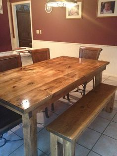 "James+James: Farmhouse Table 6' x 37"" x 30"". Vintage Early American stain. Matching Farmhouse Bench"