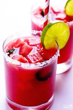 Jalapeno Watermelon Margaritas Recipe -- easy to make homemade, and extra fun if you dice and freeze fresh watermelon for the ice cubes!   gimmesomeoven.com #drinks