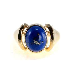 Vintage 14k Gold Natural Lapis Lazuli Modernist Ring ca 1980s #vbantiquejewelry
