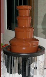 Semi-sweet dark chocolate fountain Small fountain package $495 Comes with 5 sides: rice crispy treats, strawberries, pineapple, pretzels, and bananas. Small Fountains, Chocolate Fountains, Rice Crispy Treats, Pretzels, Bananas, Strawberries, Event Planning, Pineapple, Dark