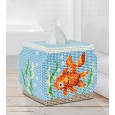 Mary Maxim - Fish Bowl Tissue Box Cover Plastic Canvas Kit - Plastic Canvas Kits - Plastic Canvas - Crafts