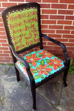 Every room needs funky and fun furniture! This particular piece was painted with acrylic based paints and sealed with a low-VOC polyurethane to protec… Cool Furniture, Living Room Furniture, Funky Living Rooms, Painted Chairs, Love Painting, Original Art, Hand Painted, The Originals, Glass