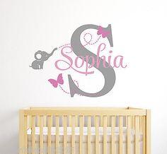 Custom Elephant Girl Name Wall Decal - Baby Room Decor - Elephant Wall Decor
