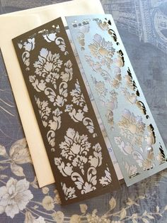 Laser Cut Wedding Invitation Damask Collection by CelineDesigns