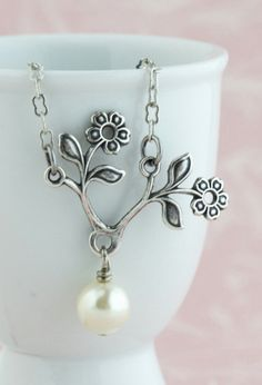Ivory Pearl Floral Bloom Silver Necklace Sweet