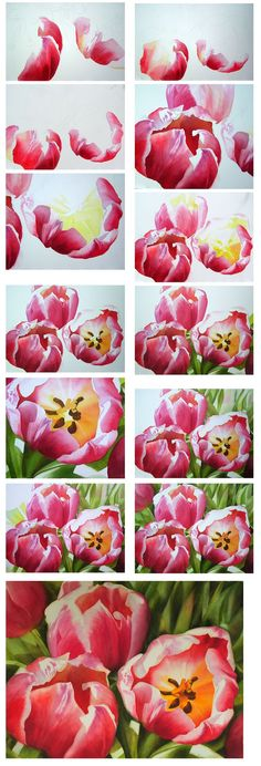 Flower Painting Tulips in watercolor by Doris Joa - how to paint flowers, demonstration